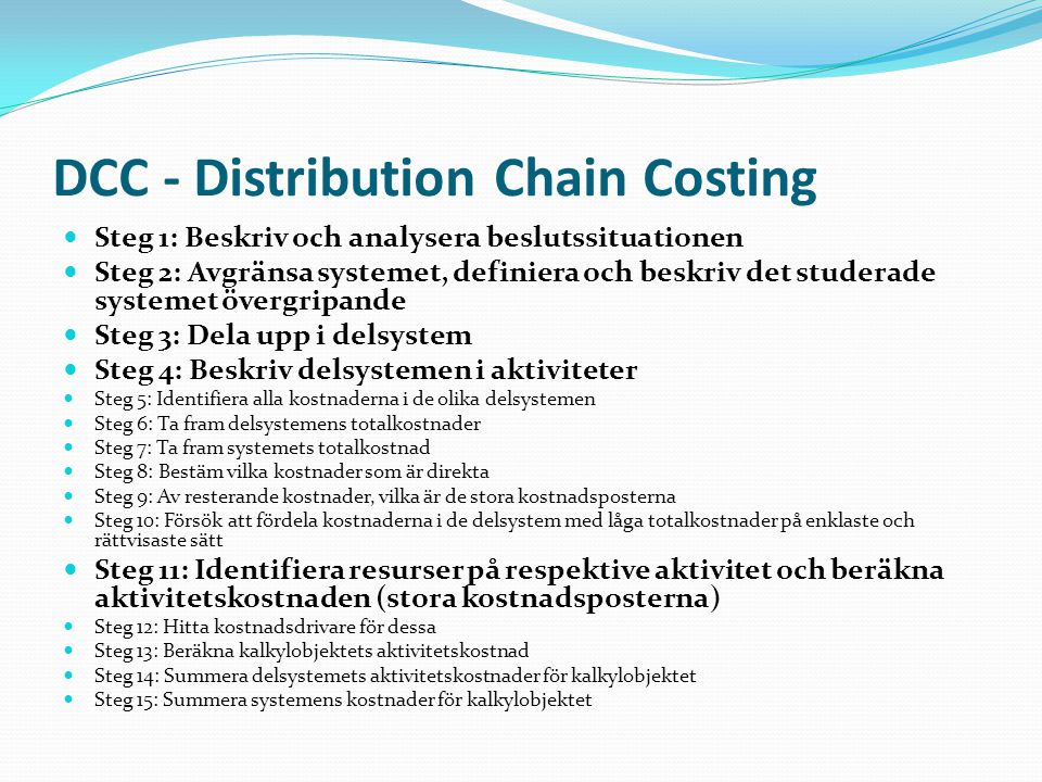 DCC - Distribution Chain Costing
