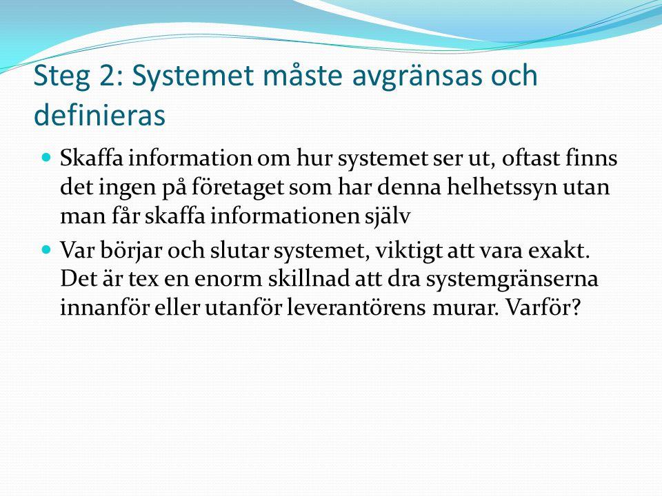 Steg 2: Systemet måste avgränsas och definieras