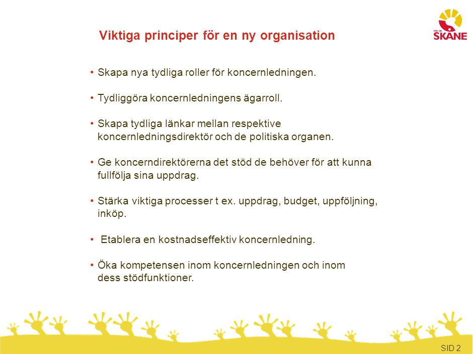 Den organisatoriska förändringen sker i fyra steg