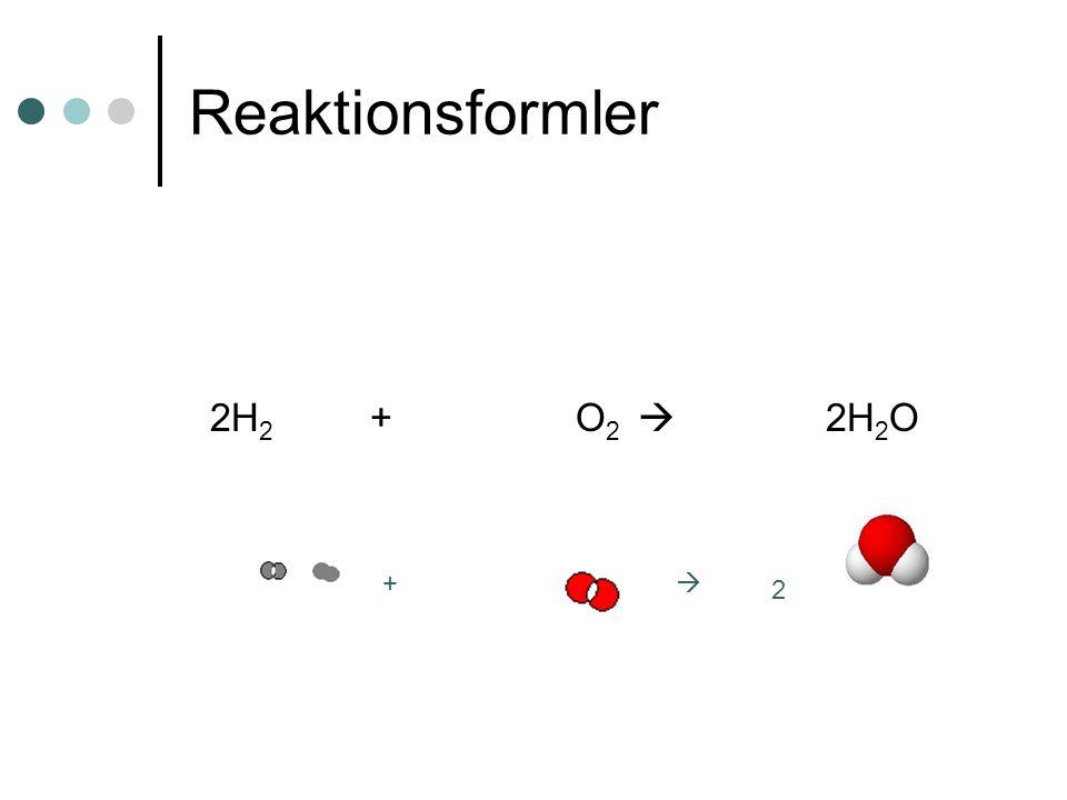 Reaktionsformler 2H2 + O2  2H2O +  2