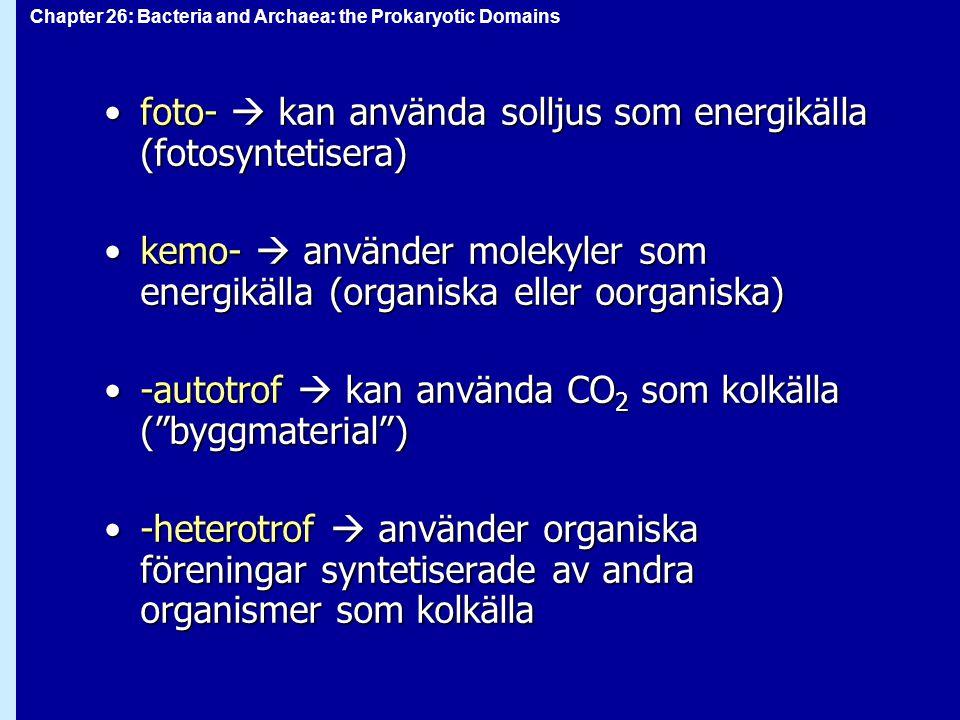 foto-  kan använda solljus som energikälla (fotosyntetisera)