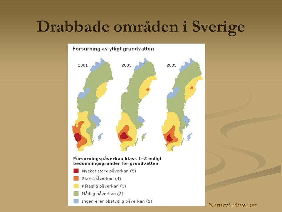 Drabbade områden i Sverige