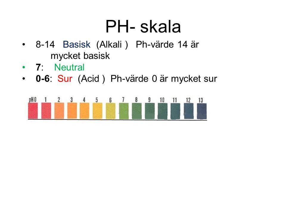 PH- skala 8-14 Basisk (Alkali ) Ph-värde 14 är mycket basisk