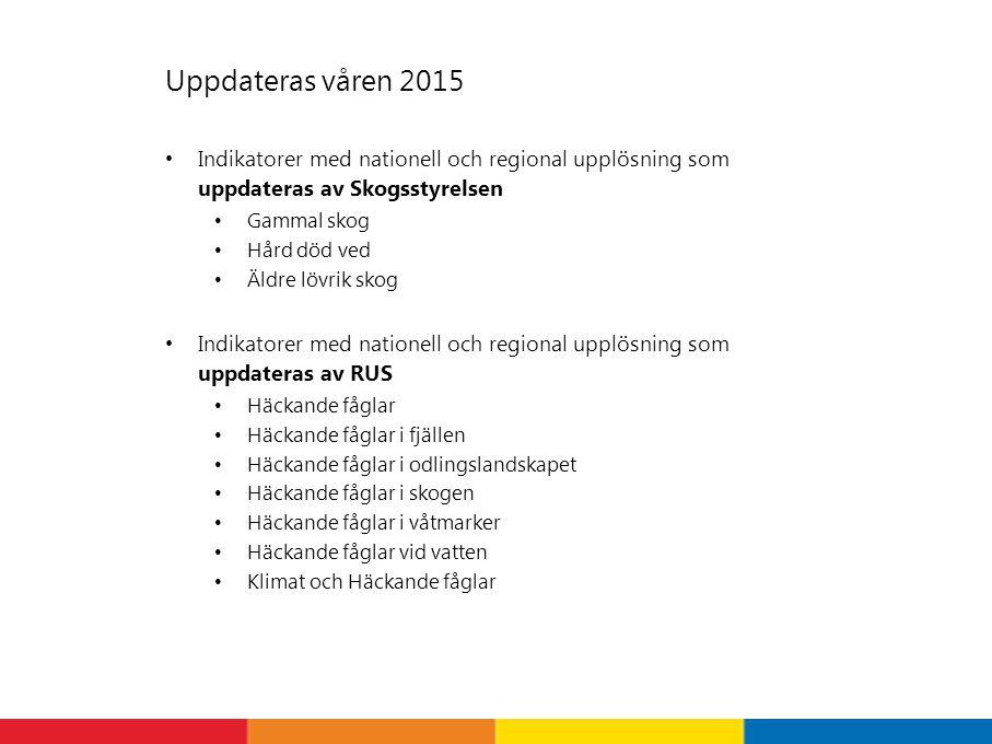 Uppdateras våren 2015 Indikatorer med nationell och regional upplösning som uppdateras av Skogsstyrelsen.