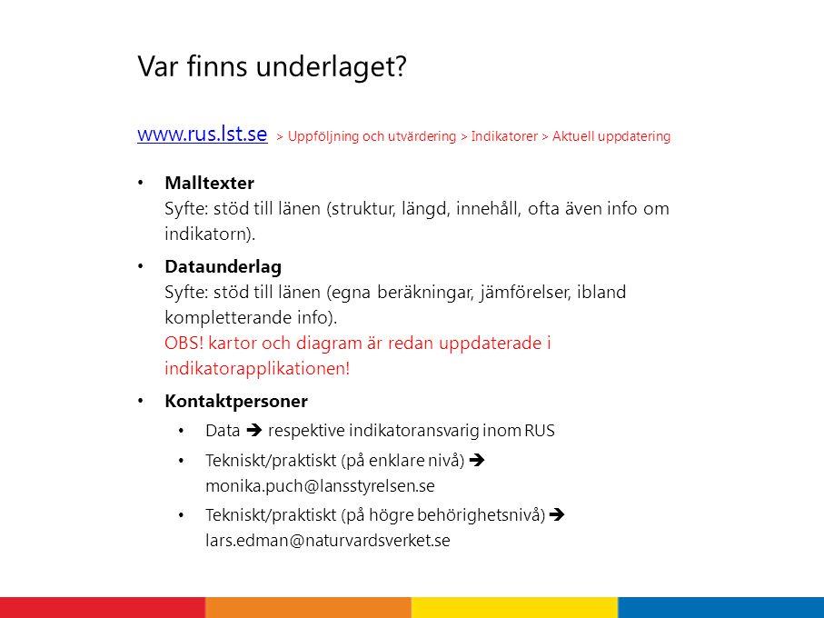 Var finns underlaget www.rus.lst.se > Uppföljning och utvärdering > Indikatorer > Aktuell uppdatering.