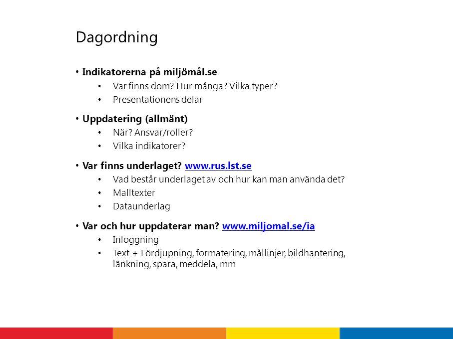 Dagordning Indikatorerna på miljömål.se Uppdatering (allmänt)