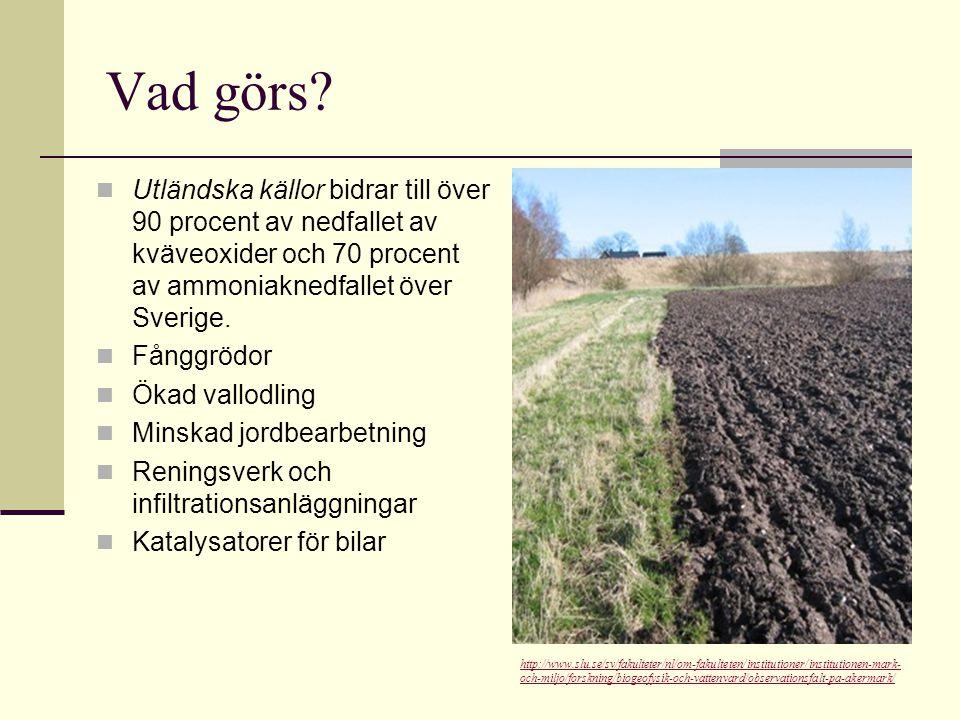 Vad görs Utländska källor bidrar till över 90 procent av nedfallet av kväveoxider och 70 procent av ammoniaknedfallet över Sverige.