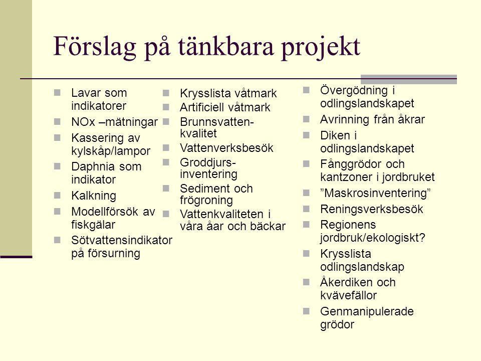 Förslag på tänkbara projekt