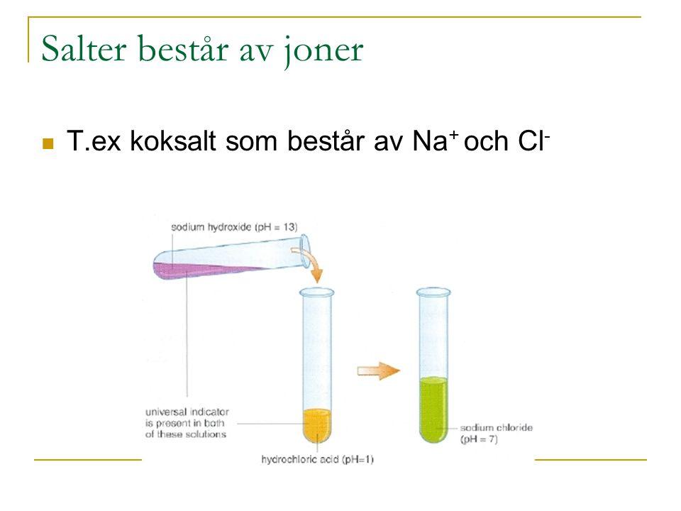 Salter består av joner T.ex koksalt som består av Na+ och Cl-