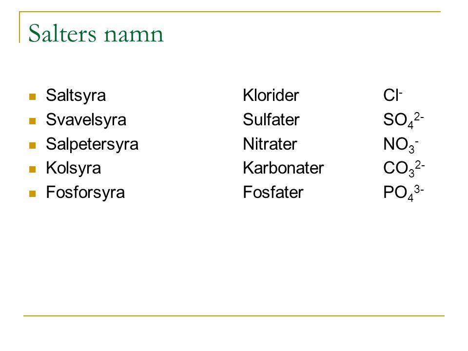 Salters namn Saltsyra Svavelsyra Salpetersyra Kolsyra Fosforsyra