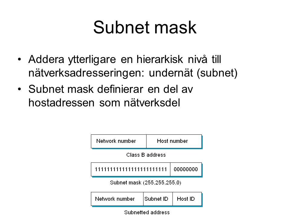 Subnet mask Addera ytterligare en hierarkisk nivå till nätverksadresseringen: undernät (subnet)