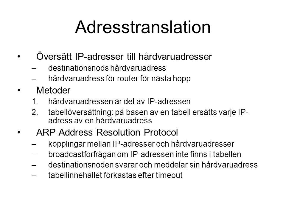 Adresstranslation Översätt IP-adresser till hårdvaruadresser Metoder