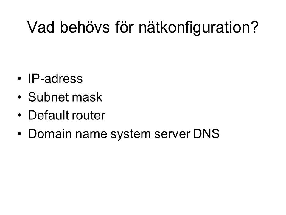 Vad behövs för nätkonfiguration