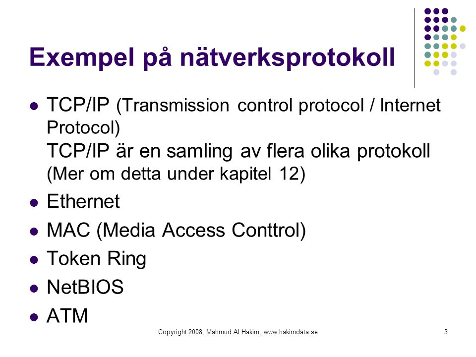 Exempel på nätverksprotokoll