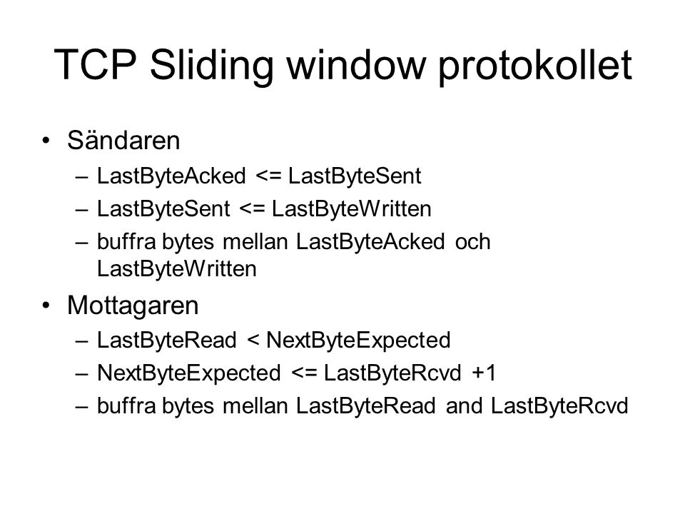 TCP Sliding window protokollet
