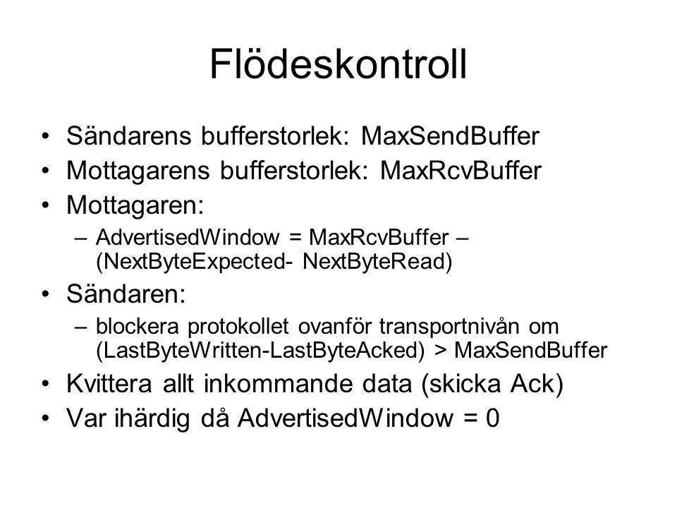 Flödeskontroll Sändarens bufferstorlek: MaxSendBuffer