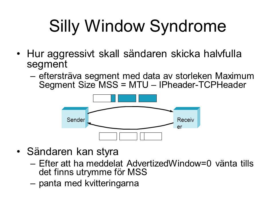 Silly Window Syndrome Hur aggressivt skall sändaren skicka halvfulla segment.