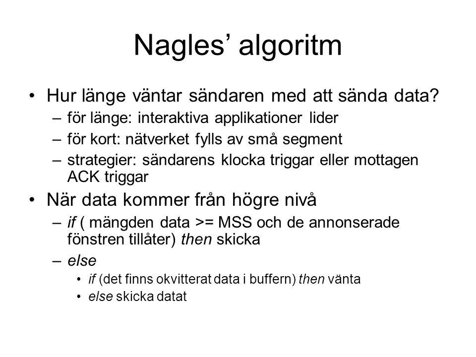 Nagles' algoritm Hur länge väntar sändaren med att sända data