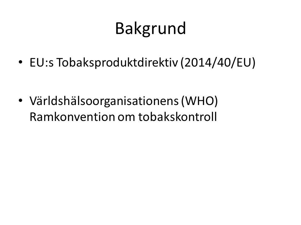 Bakgrund EU:s Tobaksproduktdirektiv (2014/40/EU)