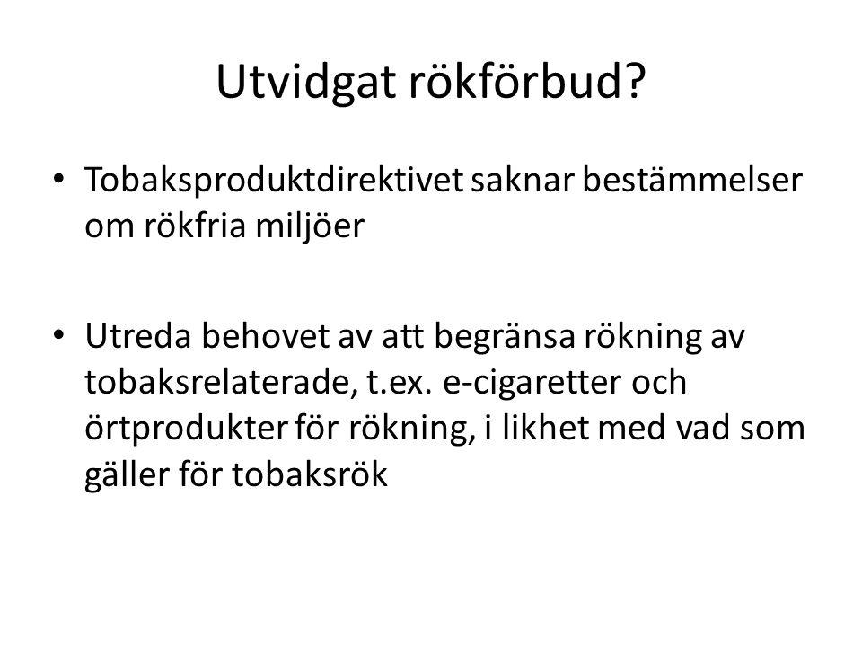 Utvidgat rökförbud Tobaksproduktdirektivet saknar bestämmelser om rökfria miljöer.