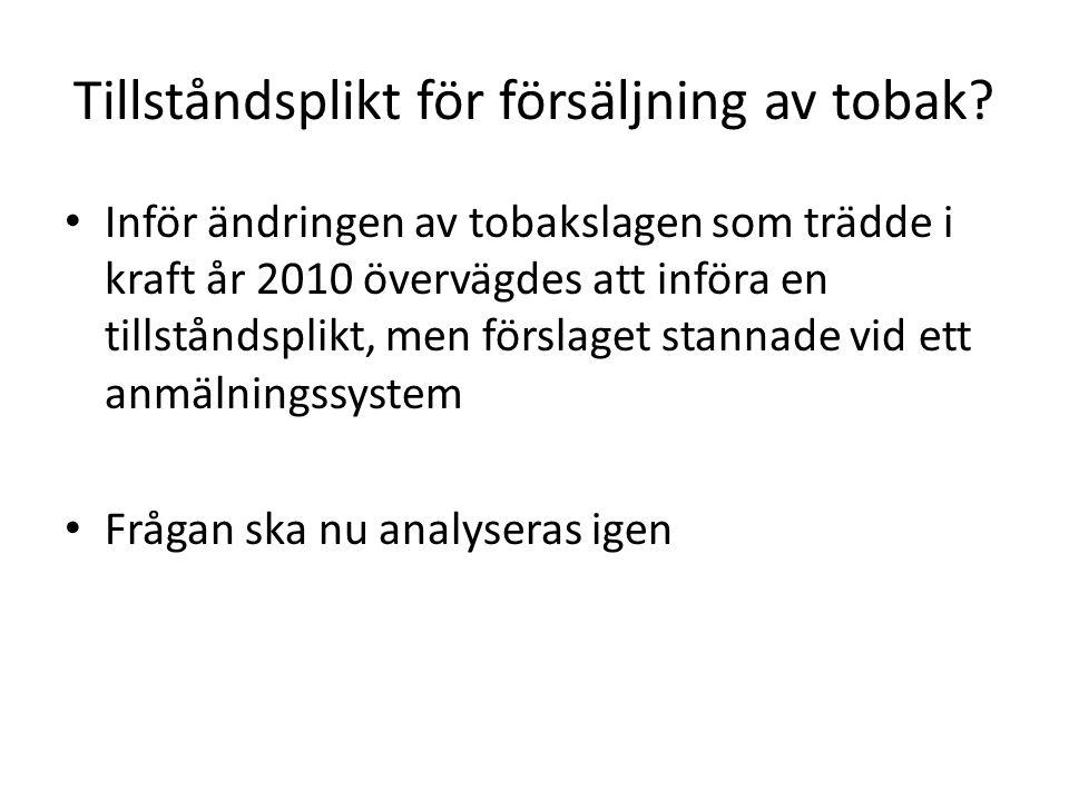 Tillståndsplikt för försäljning av tobak