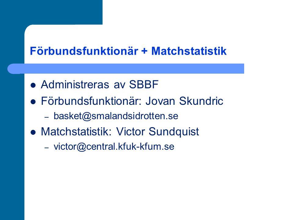 Förbundsfunktionär + Matchstatistik