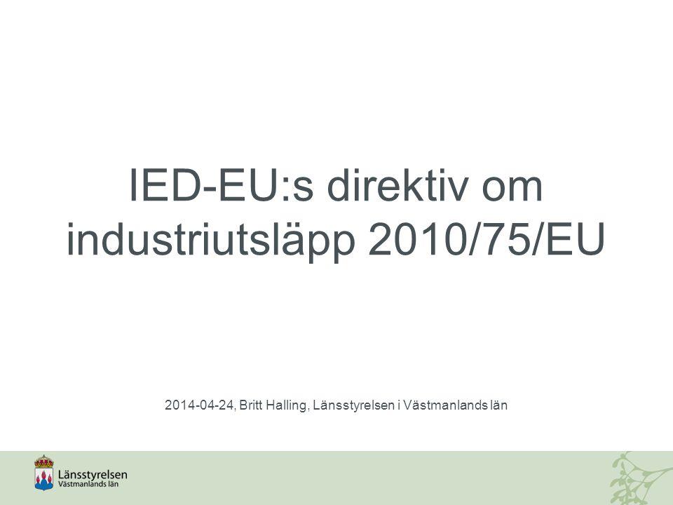 IED-EU:s direktiv om industriutsläpp 2010/75/EU