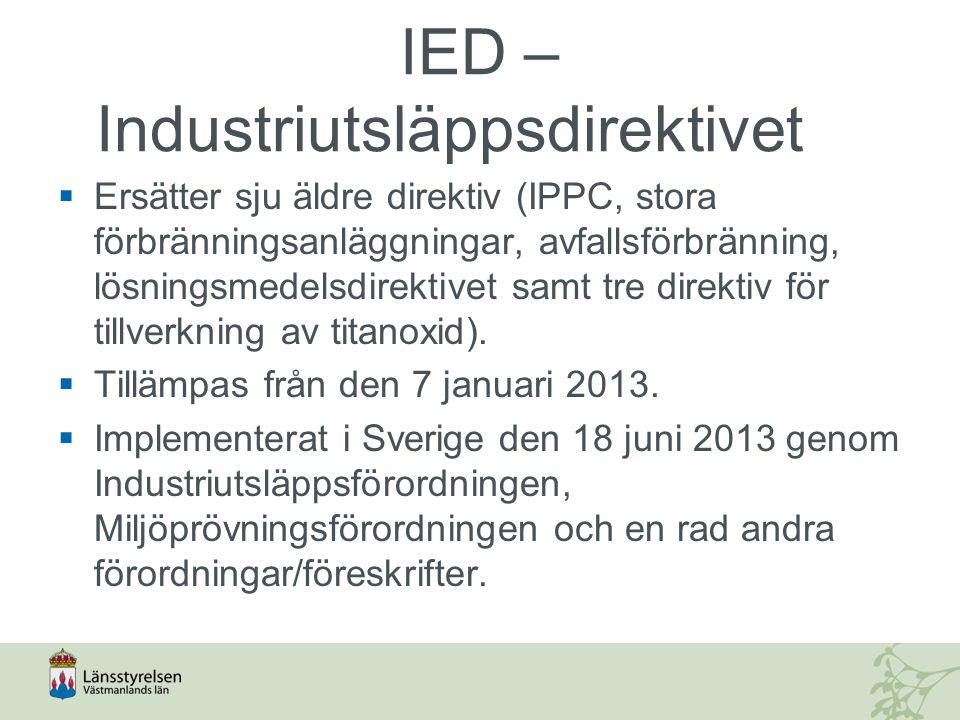 IED – Industriutsläppsdirektivet