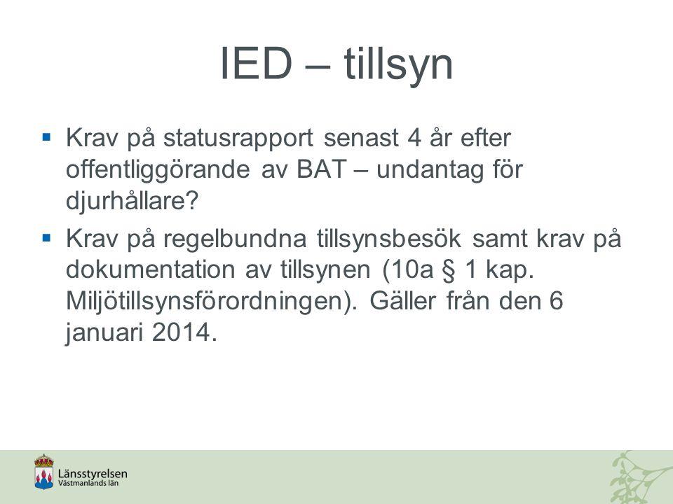 IED – tillsyn Krav på statusrapport senast 4 år efter offentliggörande av BAT – undantag för djurhållare