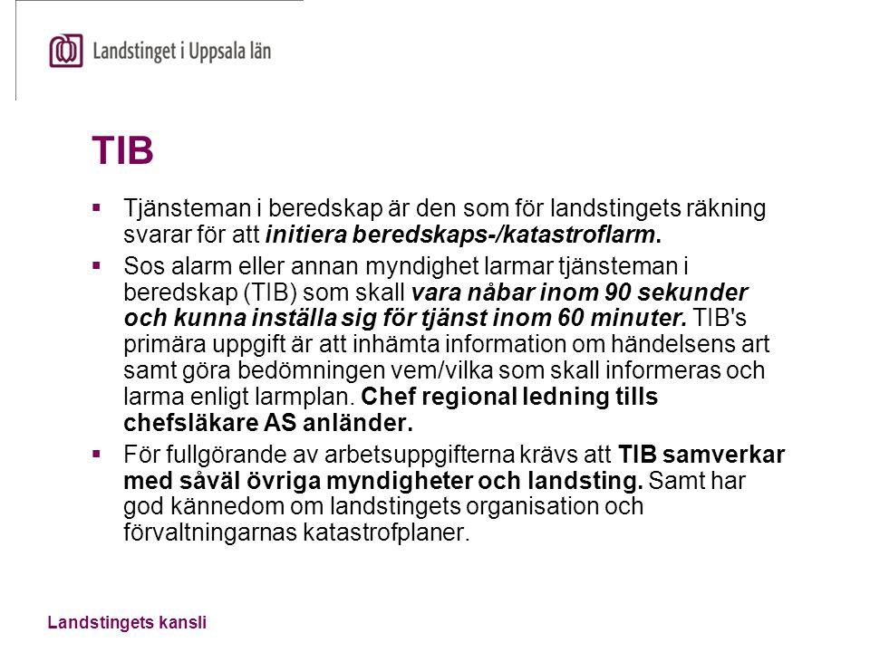 TIB Tjänsteman i beredskap är den som för landstingets räkning svarar för att initiera beredskaps-/katastroflarm.