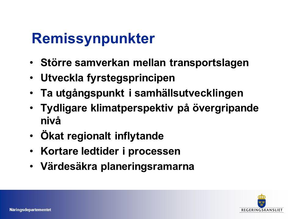 Remissynpunkter Större samverkan mellan transportslagen