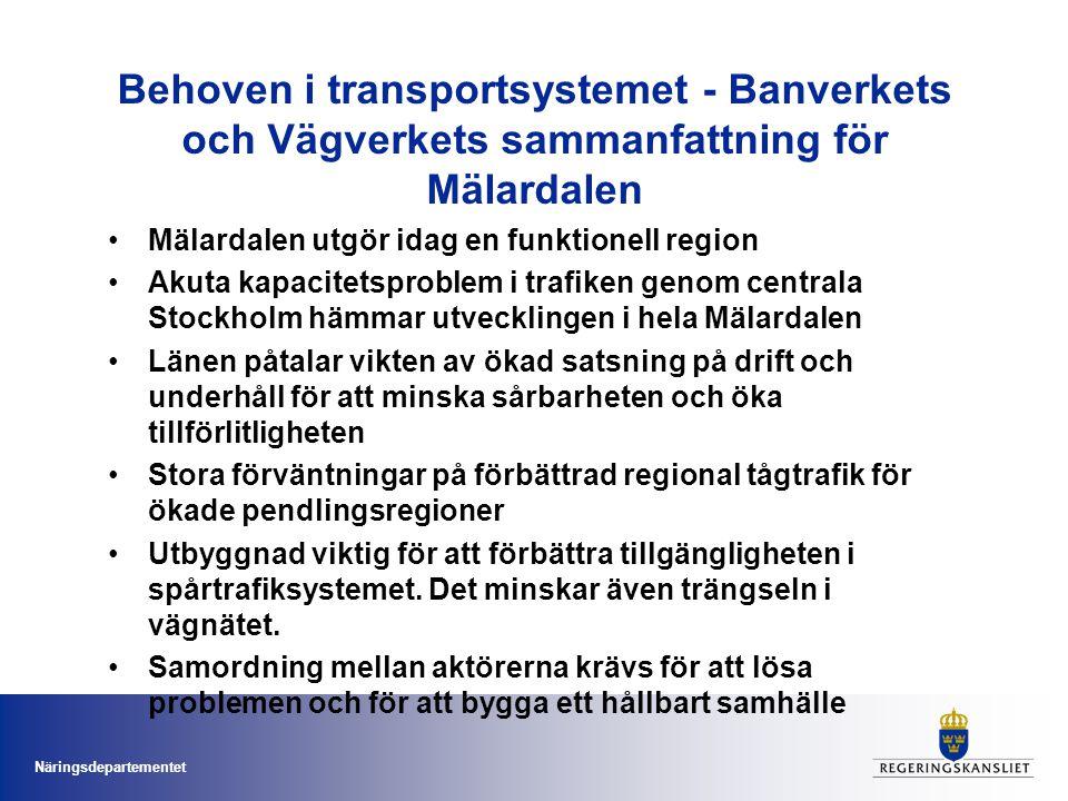 Behoven i transportsystemet - Banverkets och Vägverkets sammanfattning för Mälardalen