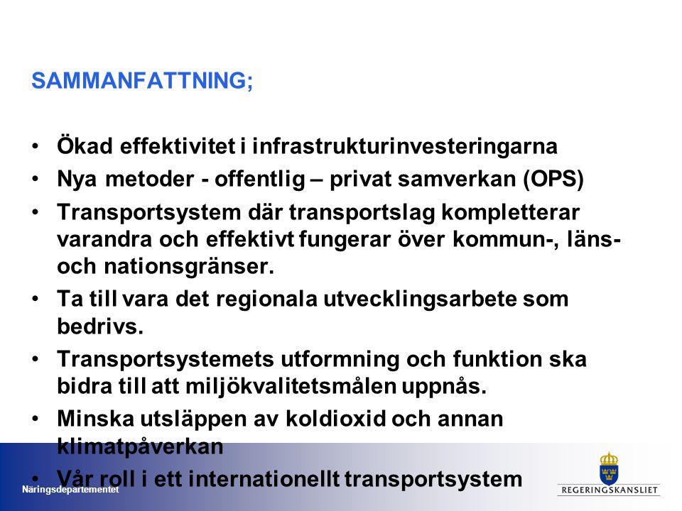 SAMMANFATTNING; Ökad effektivitet i infrastrukturinvesteringarna. Nya metoder - offentlig – privat samverkan (OPS)