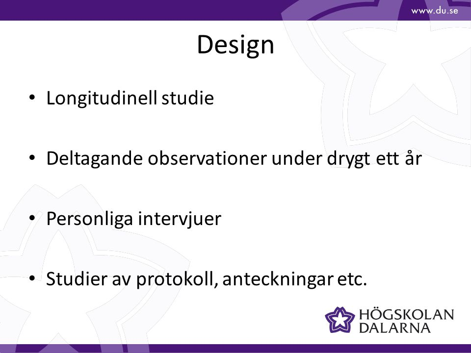 Design Longitudinell studie