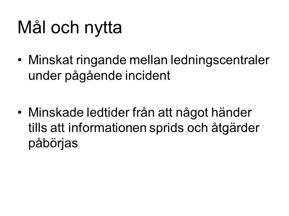 Mål och nytta Minskat ringande mellan ledningscentraler under pågående incident.