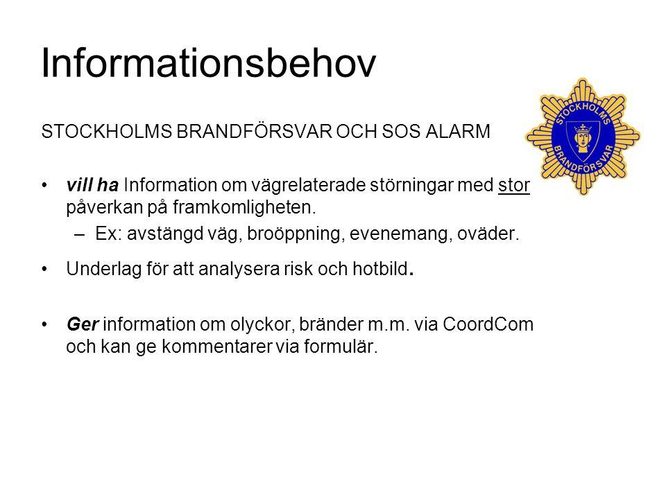 Informationsbehov STOCKHOLMS BRANDFÖRSVAR OCH SOS ALARM