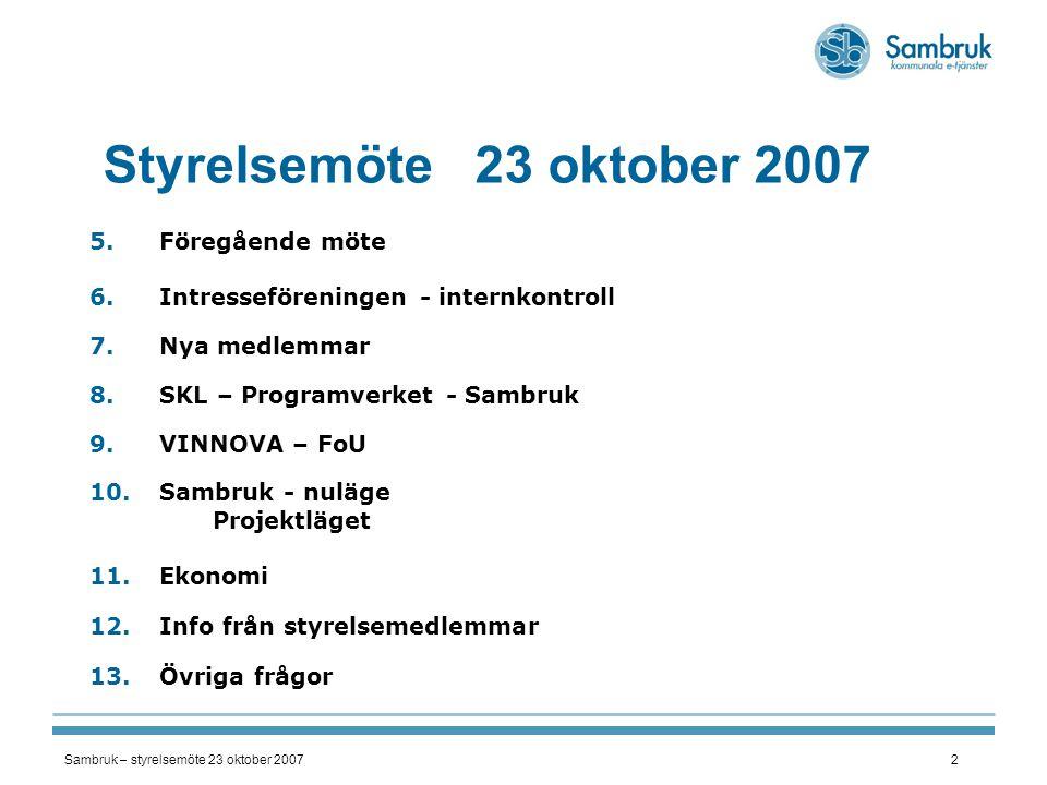 Styrelsemöte 23 oktober 2007 Föregående möte