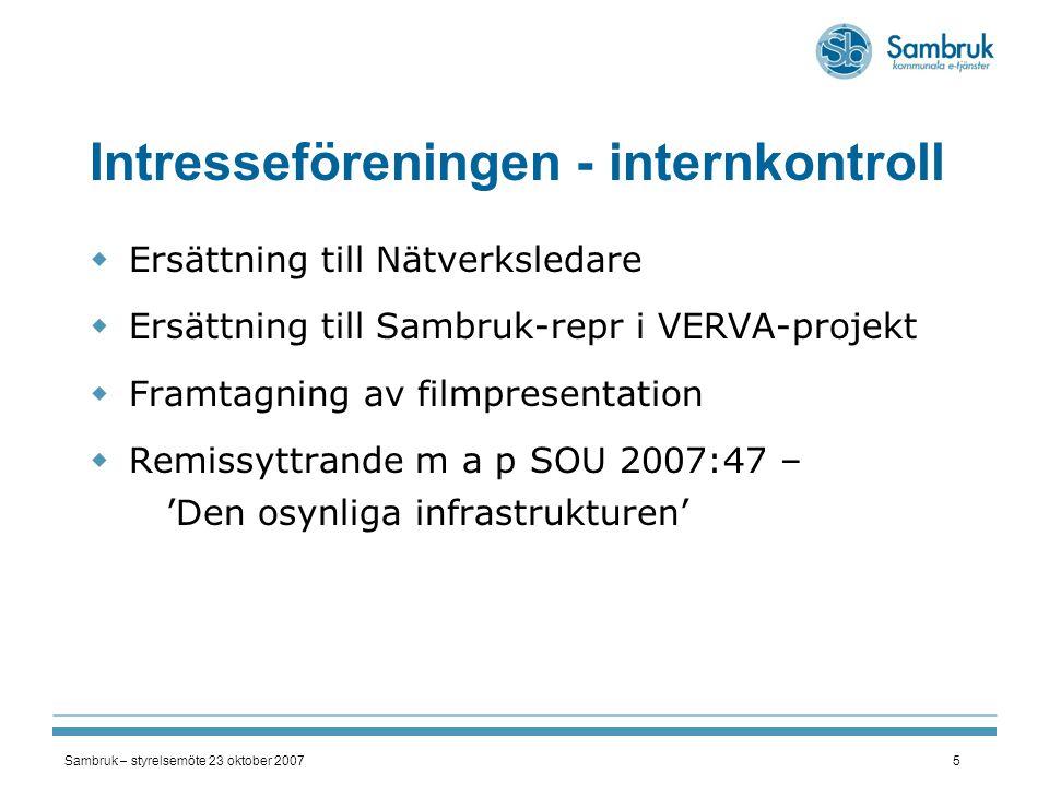 Intresseföreningen - internkontroll
