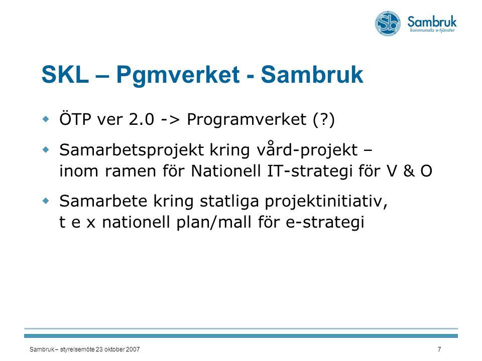 SKL – Pgmverket - Sambruk