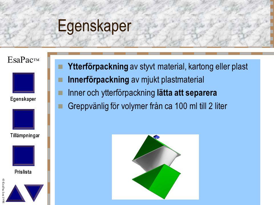 Egenskaper Ytterförpackning av styvt material, kartong eller plast