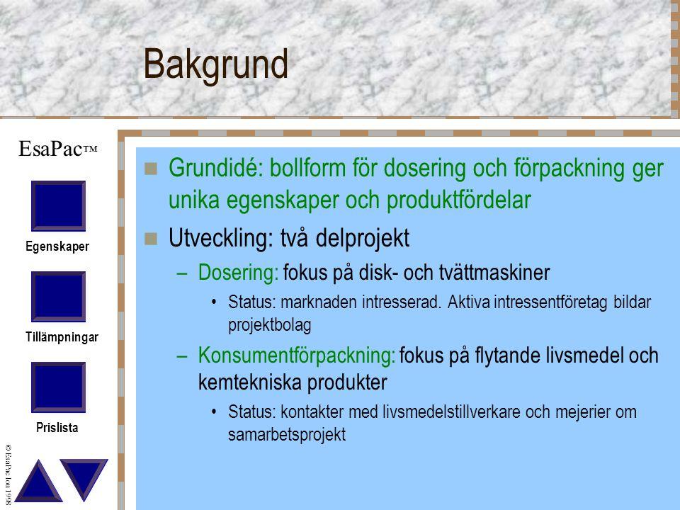 Bakgrund Grundidé: bollform för dosering och förpackning ger unika egenskaper och produktfördelar. Utveckling: två delprojekt.