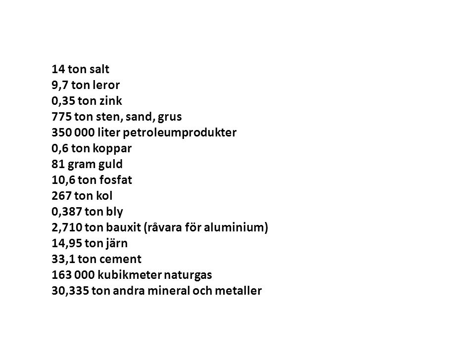 14 ton salt 9,7 ton leror. 0,35 ton zink. 775 ton sten, sand, grus. 350 000 liter petroleumprodukter.
