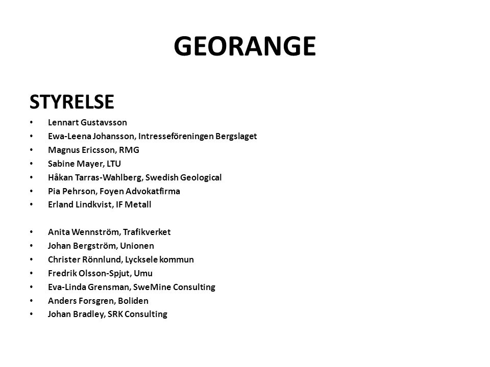 GEORANGE STYRELSE Lennart Gustavsson