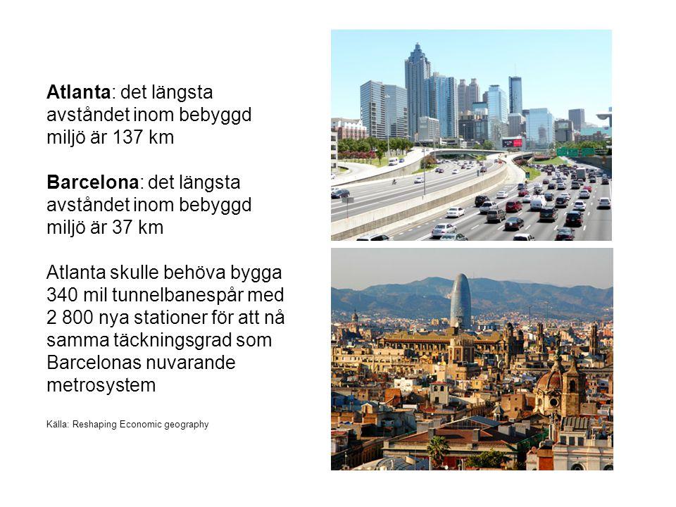 Atlanta: det längsta avståndet inom bebyggd miljö är 137 km Barcelona: det längsta avståndet inom bebyggd miljö är 37 km Atlanta skulle behöva bygga 340 mil tunnelbanespår med 2 800 nya stationer för att nå samma täckningsgrad som Barcelonas nuvarande metrosystem