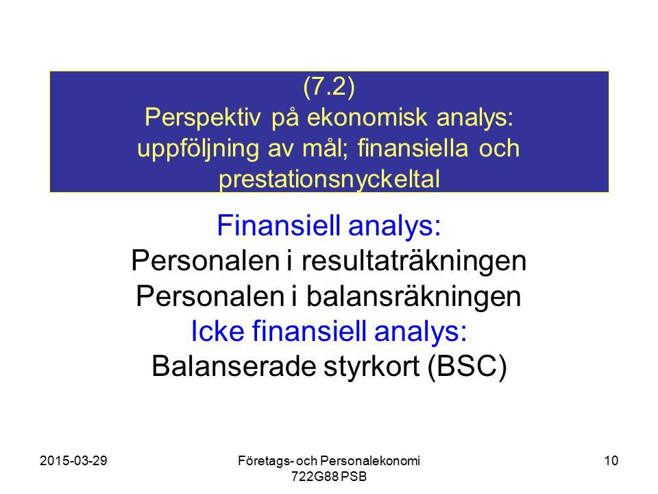 Personalen i resultaträkningen Personalen i balansräkningen
