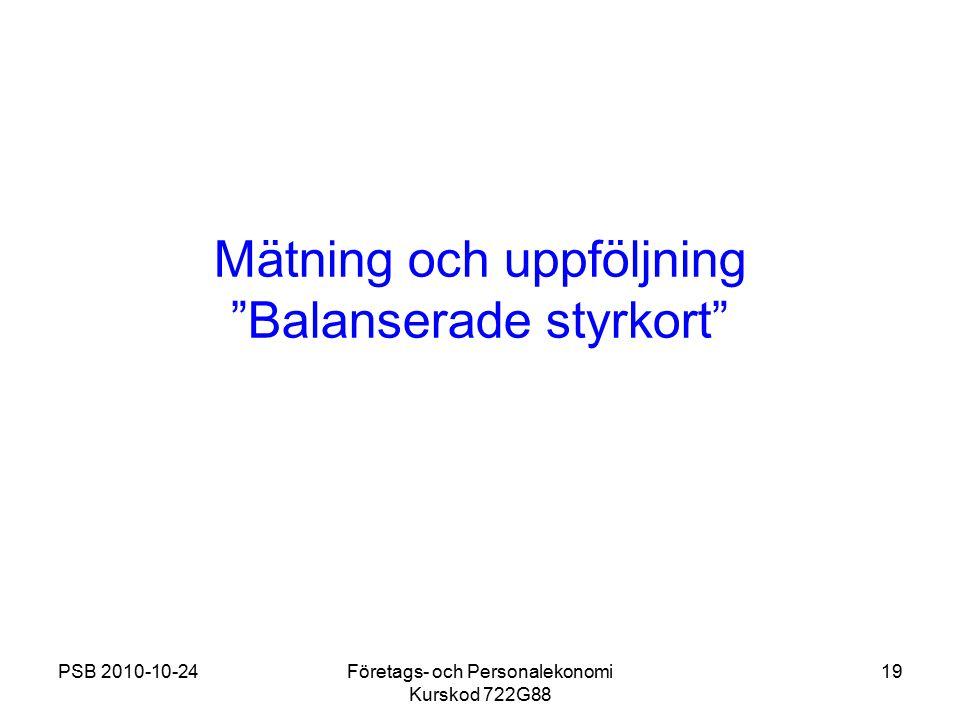 Mätning och uppföljning Balanserade styrkort