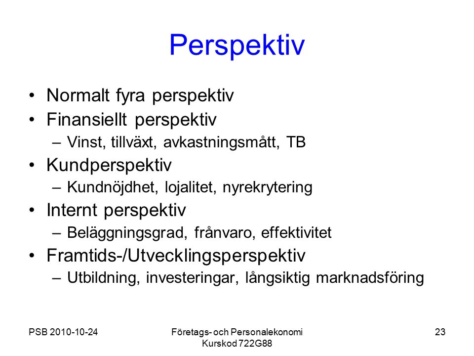 Företags- och Personalekonomi Kurskod 722G88