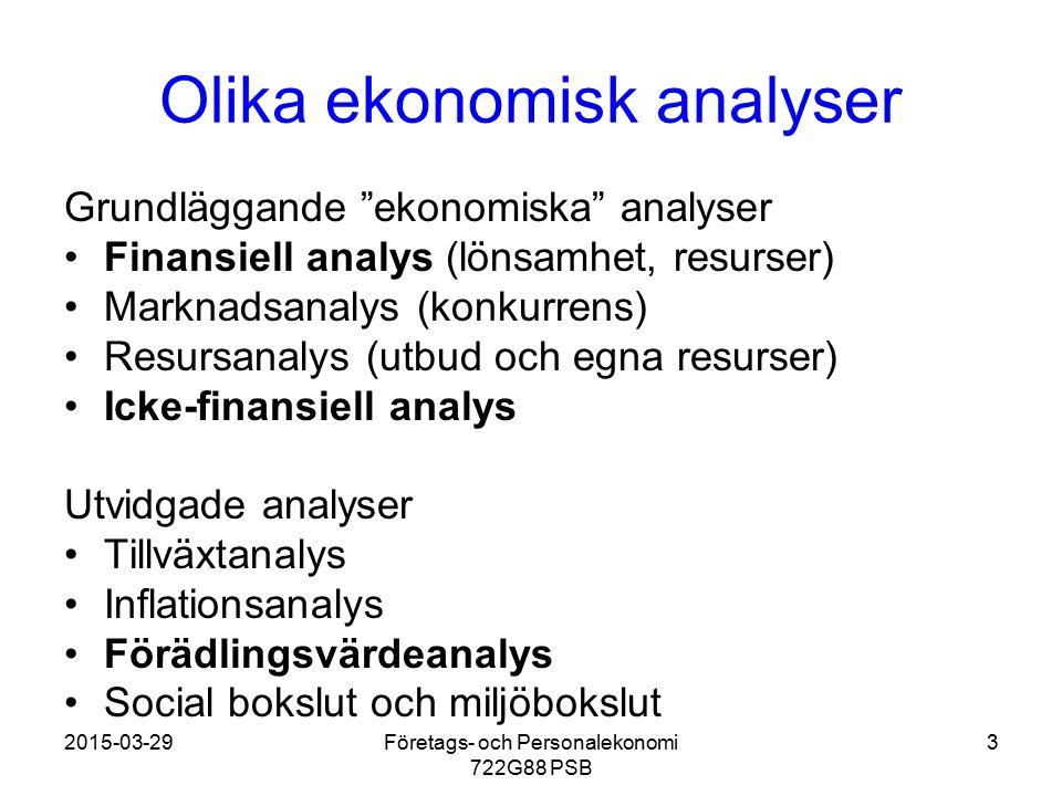 Olika ekonomisk analyser