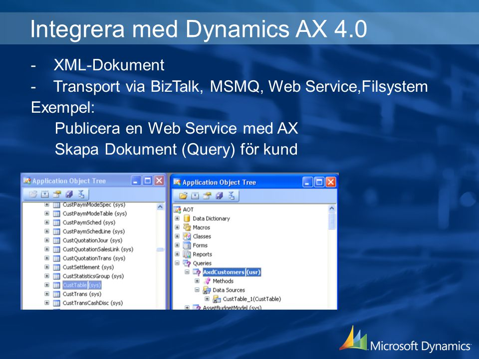 Integrera med Dynamics AX 4.0
