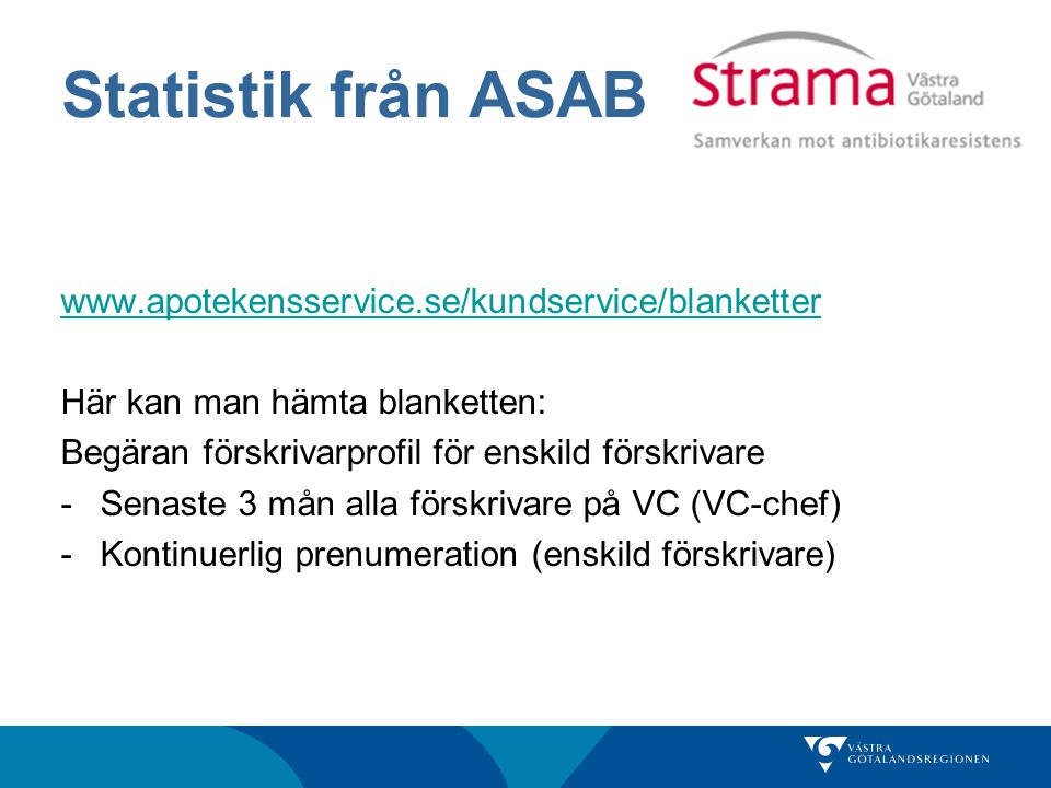 Statistik från ASAB www.apotekensservice.se/kundservice/blanketter